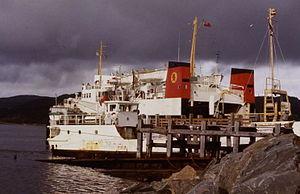 MV Pentalina-B - 1979 at Kennacraig with MV Bruernish, the Gigha ferry.