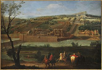 Machine de Marly - Vue de la Machine de Marly (1723) by Pierre-Denis Martin, showing the Machine de Marly on the Seine, the Louveciennes hillside, and in the background to the right, the aqueduc de Louveciennes to which the water was pumped by the Machine