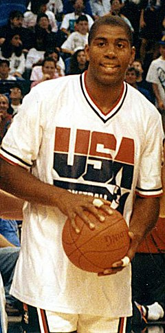 Johnson, who had retired from basketball in 1991 due to HIV, was selected for the U.S. national team that won the gold medal at the Summer Olympics. Magic johnson vs argentina 1992.jpg