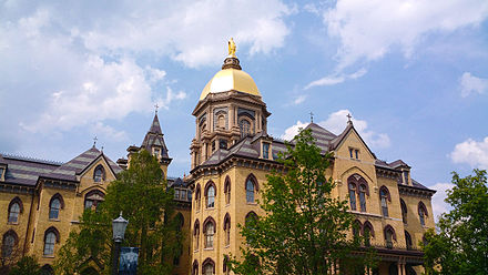 The University of Notre Dame contains an endowment of $11.8 billion, the largest in Indiana. Main Building at the University of Notre Dame.jpg