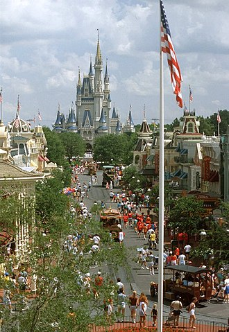 Magic Kingdom - Main Street, U.S.A., with Cinderella Castle in the far distance.