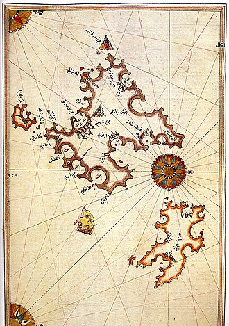 Ibn Hazm - Historic map of Majorca and Minorca by the Ottoman admiral Piri Reis.