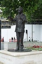The statue of Mandela in Parliament Square.