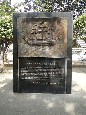 Manila galleon - The Manila-Acapulco Galleon Memorial at Plaza Mexico in Intramuros, Manila.