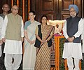 Manmohan Singh, the Chairperson, National Advisory Council, Smt. Sonia Gandhi, the Leader of Opposition in Lok Sabha, Smt. Sushma Swaraj and the Chairman.jpg