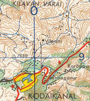 Vilpatti - Image: Map Kodaikanal Vilpatti 250,000,AMS