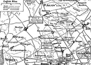 Action of 22 August 1917 - Image: Map Third Ypres Frezenberg September October 1917