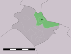 The town centre (dark green) and the statistical district (light green) of Hertme in the municipality of Borne.