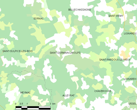 Mapa obce Saint-Germain-Lavolps