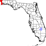 A state map highlighting Escambia County in the westernmost part of the state. It is medium in size and narrow in shape.