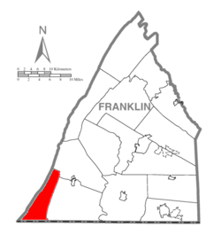 Map of Franklin County, Pennsylvania highlighting Warren Township