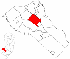 Mantua Township highlighted in Gloucester County. Inset map: Gloucester County highlighted in the State of New Jersey.
