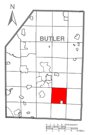 Jefferson Township, Butler County, Pennsylvania - Image: Map of Jefferson Township, Butler County, Pennsylvania Highlighted