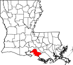 State map highlighting Saint Mary Parish