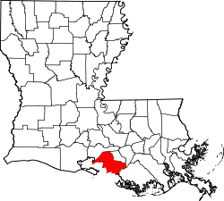 Map of Louisiana highlighting Saint Mary Parish.svg