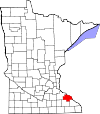 Map of Minnesota highlighting Wabasha County.svg