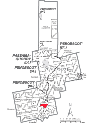 Map of Orono, Penobscot Country, Maine Highlighted.png
