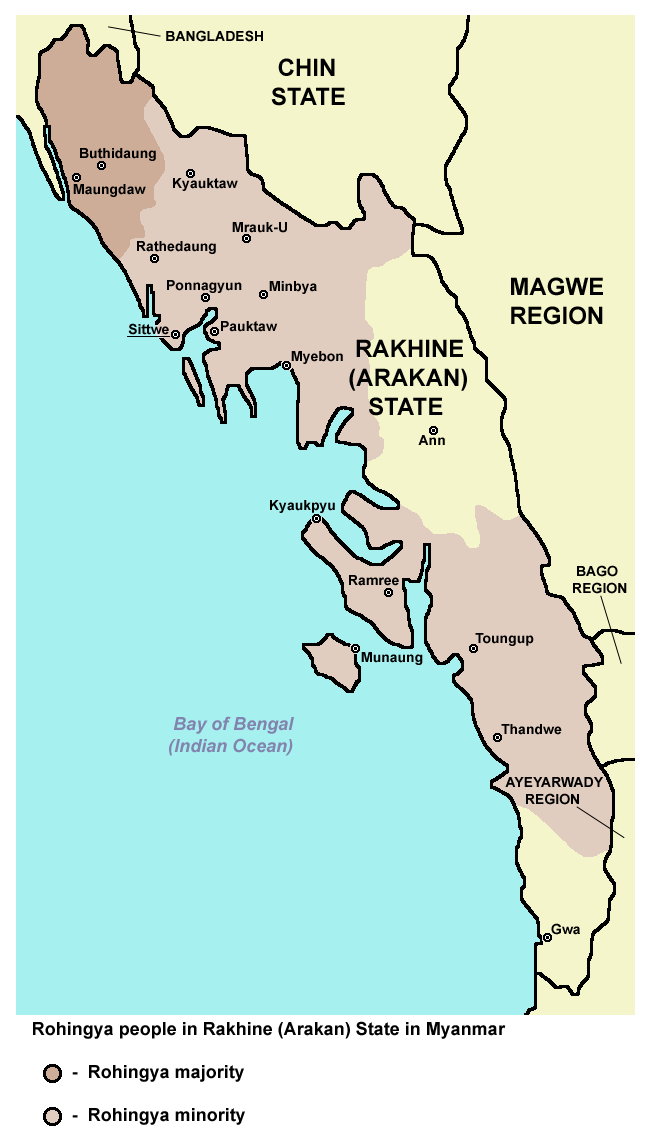 Map of Rohingya people in Rakhine State