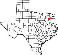 Locatie van Wood County in Texas