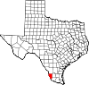 State map highlighting Zapata County