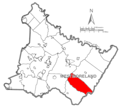Map of Westmoreland County, Pennsylvania Highlighting Cook Township