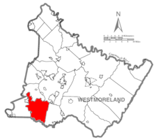 Map of Westmoreland County, Pennsylvania Highlighting South Huntingdon Township