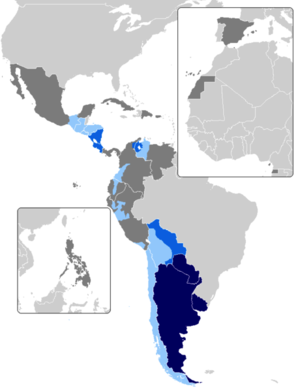 Countries that feature voseo. In blue, countries that use vos as the primary spoken form. In green countries that feature voseo as a regionalism or non-mainstream practice.