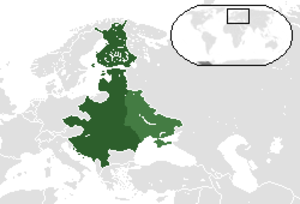 Intermarium - One of the Intermarium Federation proposals. Light-green indicates Ukrainian and Belarusian territories that, after 1921, came under the control of the Soviet Union.