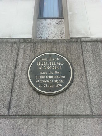 Guglielmo Marconi - Plaque on the outside of BT Centre commemorates Marconi's first public transmission of wireless signals.