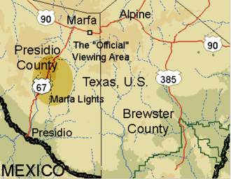 "Marfa lights - The ""Marfa Lights"" label within this image shows where Marfa lights can be seen."