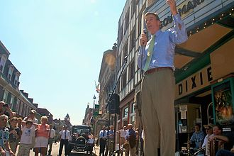 United States Senate election in Virginia, 2008 - Former Gov. Mark Warner (D) campaigns at the Dixie Theatre in Staunton, Virginia
