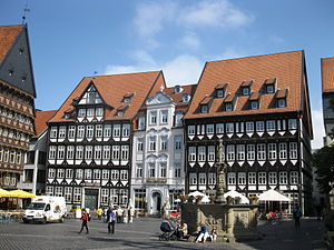 Historic Market Place, Hildesheim - City Tavern (left), Rococo House (middle), Weavers' Guild Hall (right), Market Fountain in the foreground.