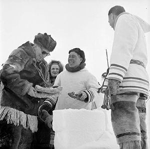 Vincent Massey - Massey (left) shares a laugh with an Inuit inhabitant of Frobisher Bay