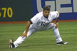 Matt Garza in the Tampa Bay Rays jersey stretching