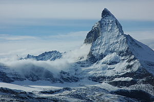 First ascent of the Matterhorn - The east face and Hörnli ridge on the right