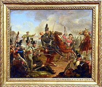 """Frederick William, Duke of Brunswick-Wolfenbüttel - Tod des Schwarzen Herzogs (German: """"Death of the Black Duke"""") at the Battle of Quatre Bras on 16 June 1815. An 1835 painting by Friedrich Matthäi now displayed in the Braunschweigisches Landesmuseum."""