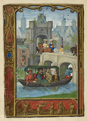 Golf book - Image: May Boating party; and archery The Golf Book (1520 1530), f.22v BL Add MS 24098