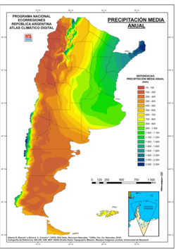Map showing mean annual precipitation in Argentina in millimetres according to Instituto Nacional de Tecnología Agropecuaria. Precipitation is the highest in the northeast and in the western parts of Patagonia while they are the lowest in most of western Argentina.