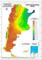 Mean annual precipitation map atlas climatico digital republica argentina.png