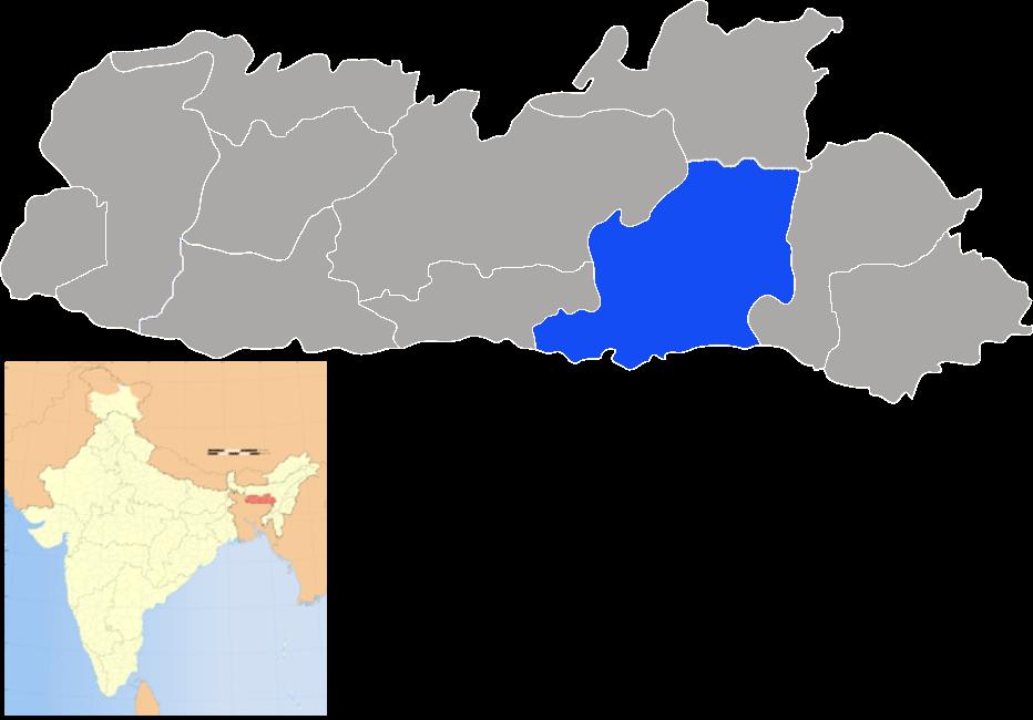 Location of East Khasi Hills district in Meghalaya