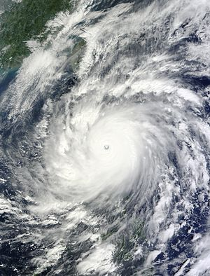 Typhoons in the Philippines - Typhoon Megi nearing landfall over the Philippines on October 18, 2010