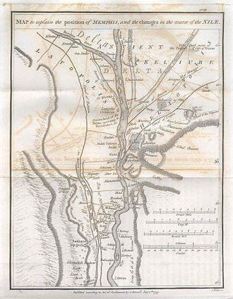 James Rennell's map of Memphis and Cairo in 1799, showing the changes in the course of the Nile river MemphisJamesRennell01.jpg