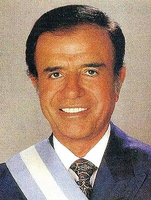 Argentine general election, 1995 - Image: Menem con banda presidencial (recortada)