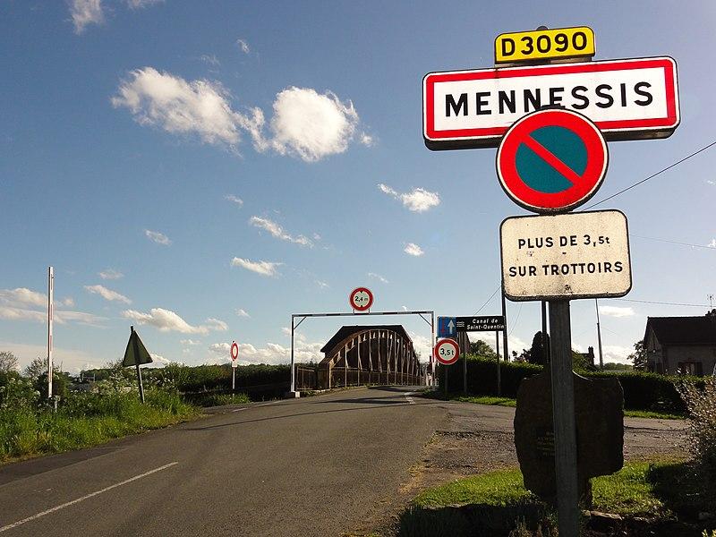 Mennessis (Aisne) city limit sign