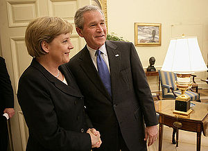 President George W. Bush welcomes German Chanc...