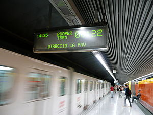 Passenger information system - LED information display at Joanic station on the Barcelona Metro. These LED displays count down to the last second the time needed for a train to arrive at a station