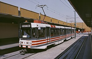 Xochimilco Light Rail - One of the Moyada-built Car 009 that served the Tren Ligero line from 1986–91, seen at Tasqueña terminal in 1990