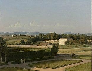 Vue des jardins de la villa Médicis