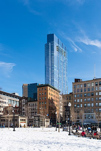Architecture of Boston - The Millenium Tower is the tallest building in Downtown Crossing