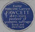 Millicent Garrett Fawcett 2 Gower Street blue plaque.jpg